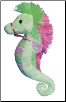 "Lime and Pink Seahorse 9"" by Douglas"