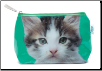 Kitten on Green Small Bag / Makeup Bag by Catseye London