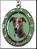 Brindle Greyhound Spinning Dog Key Chain by E and S Imports
