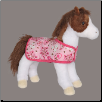 "Daphne Brown and White Pinto Horse with Pink Blanket 11"" by Douglas"