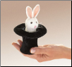 "Mini Rabbit in Hat Finger Puppet 6"" by Folkmanis"