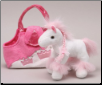"Karimee White Horse with Pink & White Purse 8"" by Unipak"
