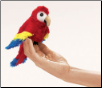 "Mini Scarlet Macaw Finger Puppet 7"" by Folkmanis"