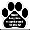 My dog has got me wrapped around his little (paw) Car Magnet by E&S Pets