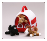 "Barn House with Horse Finger Puppets 7"" by Unipak Designs"