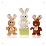 "Standing Bunnies with Polka Dot Trim 8"" by Fiesta"