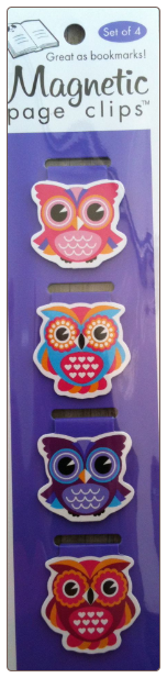 Owls Illustrated Magnetic Page Clips Set of 4 by Re-marks