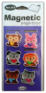 Small Animals Hugging Hearts Mini Illustrated Magnetic Page Clips Set of 6