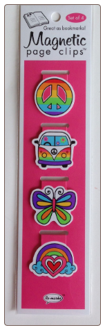 Hippie Peace Illustrated Magnetic Page Clips Set of 4 by Re-marks