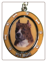 Brindle and White Pit Bull Spinning Dog Key Chain by E and S Imports