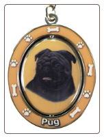 Black Pug Spinning Dog Key Chain by E and S Imports
