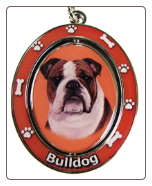 Bulldog Spinning Dog Key Chain by E and S Imports