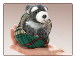 "Mini Schnauzer in Bed Finger Puppet 4"" by Folkmanis"