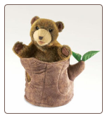 "Bear In Tree Stump Hand Puppet 10"" by Folkmanis"