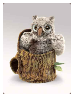 "Owlet In Tree Stump Hand Puppet 10"" by Folkmanis"