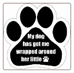 My dog has got me wrapped around her little (paw) Car Magnet by E&S Pets