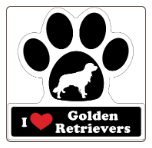 I Love Golden Retrievers Car Magnet by Little Gifts