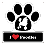I Love Poodles Car Magnet by Little Gifts