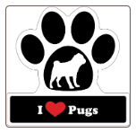 I Love Pugs Car Magnet by Little Gifts