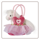 "Pink Ballerina Purse with White Horse 7"" by Douglas"