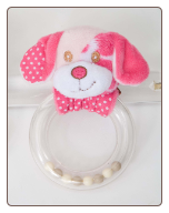 Pink Dog Ring Rattle by Douglas
