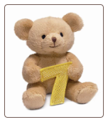 "Seven Years Birthday Bear 4"" by Russ"