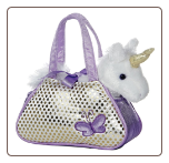 "Fancy Pals Silvery Unicorn Carrier with Sparkles 8"" by Aurora"