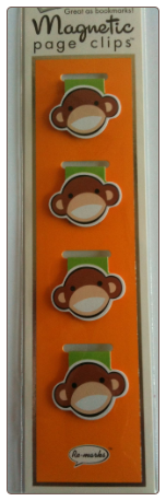Monkey Illustrated Magnetic Page Clips Set of 4 by Re-marks