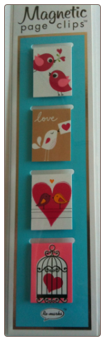 Birds and Hearts Illustrated Magnetic Page Clips Set of 4 by Re-marks