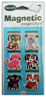 Small Fashion Dogs Mini Illustrated Magnetic Page Clips Set of 6