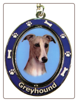 Fawn and White Greyhound Spinning Dog Key Chain by E and S Imports
