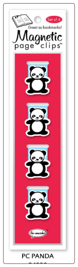 Panda Illustrated Magnetic Page Clips Set of 4 by Re-marks