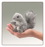"Mini Gray Squirrel Finger Puppet 7"" by Folkmanis"