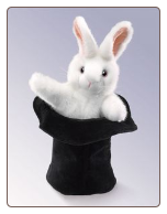 "Rabbit in Hat Hand Puppet 15"" by Folkmanis"